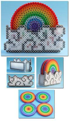 Rainbow Drink Coasters with Cloud Container perler beads by ~ThePlayfulPerler on deviantART