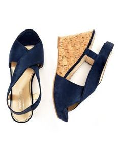 Wide width cork wedge crisscross sandals $29.99  The perfect shoes to a sunny day! Crisscross sandals feature wedge heels covered with cork. Wider width gives a better fit for your foot. Color Blue Eclipse #Penningtons