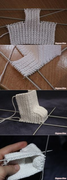 Ideas for crochet baby boots knitted slippers Baby Knitting Patterns, Baby Booties Knitting Pattern, Knitting For Kids, Knitting Stitches, Knitting Projects, Crochet Patterns, Crochet Boot Socks, Crochet Baby Boots, Knitted Slippers