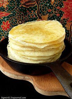 Марокканские блинчики «Багрир» Манная крупа – 1 ст. Пшеничная мука – 0,5 ст. Соль – 1 ч.л. Разрыхлитель – 1 пакетик Вода – 2 ст. Сухие дрожжи – 2 ч.л. Сахар – 1 ч.л.