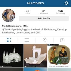 Hey if you like 3D printing Laser cutters CNC and all other cutting edge manufacturing follow my new account @multidmfg thanks. #3dprinting #lasercutting #cnc by tomarrigo