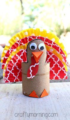 Cupcake Liner Turkey Craft Using Cardboard Tubes - Fun Thanksgiving craft for kids to make | CraftyMorning.com