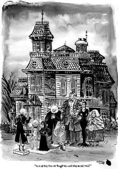 Original Charles Addams cartoon - great vintage illustration with lots of wonderful Halloween details Addams Family House, The Addams Family 1964, Addams Family Values, Jean Renoir, Mary Blair, Norman Rockwell, Robert Mcginnis, Gustav Klimt, Louise Brooks