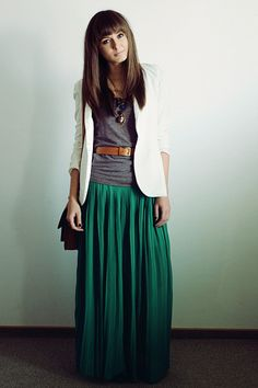 way to wear a maxi! full green maxi skirt + belted grey tee + white blazer --> fresh, fun but graceful look