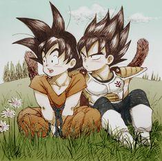 Goku y Vegeta de niños. #DBZ #Goku #Vegeta