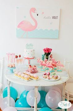 Little Big Company The Blog: Beautiful Flamingo party Introducing baby Violet by Frosted by Nicci