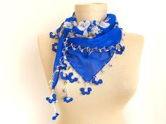 Blue scarf - Turkish Scarf , scarf for women , Cotton scarves - Turkish Oya Scarf - triangle scarf