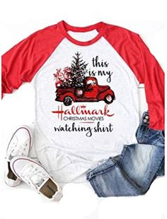 eb4a21e1 New This My Hallmark Christmas Movies Watching Shirt Women Sleeve Christmas  Graphic Raglan Baseball Tee Shirts Top online - Newforbuy