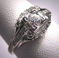 Antique Diamond Wedding Ring Vintage Art Deco Edwardian