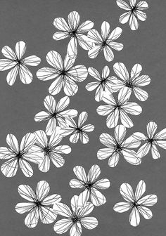 Cut out paper flowers on gray paper.