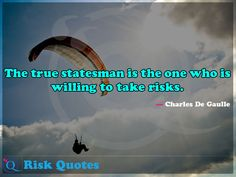 The true statesman is the one who is willing to take risks. Risk Quotes, Take Risks, Dares, Poster, Taking Risks, Posters, Billboard