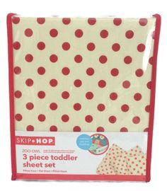 SKIP HOP Baby Toddler Bed Sheet Set 3-Pc Ivory Red Dot Pillow Case Flat Fit NIP #SkipHop