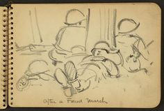 Victor Alfred Lundy (1923-) - After a Forced March, 1944 (WW II Sketchbook)