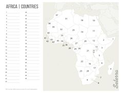 Printable Africa countries map quiz (pdf)