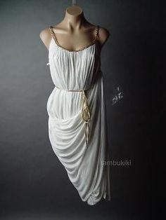 GRECIAN Goddess Greek Elegant Gathered Drape Women Theme Party fp Dress S