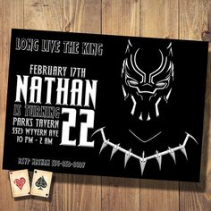 Birthday Invitation - Long Live the King! This Black Panther inspired invitation will let your guests know that you are the King of the Day!