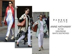 SPOTTED: Anne Hathaway can't get enough of the Girlfriend in White Destoyed. The actress was seen wearing this style 3 times while out and about in NYC! #theperfectfit #celebstyle