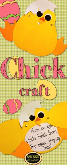 templates to make a cute Easter chick with an egg shell hat. Includes templates for all parts that can be run directly onto construction paper, and step-by-step directions. Cute for Easter/spring or a unit on animals.  Love!!!