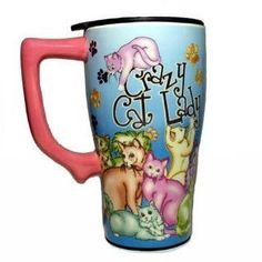 Crazy CAT Lady Ceramic Coffee Tea Travel Mug by Spoontiques, http://www.amazon.com/dp/B000VXK1BE/ref=cm_sw_r_pi_dp_Cru-rb1PE7RN4
