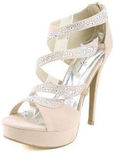 Marichi Mani Yamila02 Nude Strappy Rhinestone High Heels and Shop shoes at MakeMeChic.com