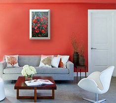 #DiyCraftsForRoomDecor Living Room Orange, Accent Walls In Living Room, Bedroom Wall Colors, Paint Colors For Living Room, Living Room Carpet, Bedroom Ideas, Simple Living Room Decor, Collor, Red Rooms