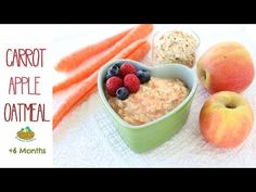 Carrot and Apple Oatmeal, a creamy and comforting warm breakfast for your baby, naturally gluten free.