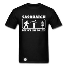 Sasquatch Doesn't Like to Lose Disc Golf Bottle Opener Shirt - Black - Shirt Has Built in Bottle Opener