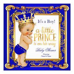 prince baby shower damask blue gold blonde boy card