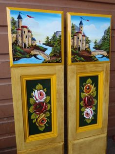 Painted Cabin Doors (graining by John Sanderson) Castle Painting, Boat Painting, Canal Boat Art, Canal Barge, Cabin Doors, Boat Interior, Narrowboat, Folk Art, Crafty