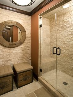 I just love this bathroom!  Mosaic floor and ceiling.  One shower wall is covered with that natural stone mosaic we have.  The others are done in 4x4 tumbled marble.