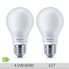 Set 2 becuri LED Philips 4.5W E27 forma clasica A60, lumina calda http://www.etbm.ro/becuri-led