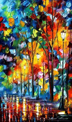 Leonid Afremov palette knife painting-love the bright colors!