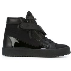 Giuseppe Zanotti Design zip detail hi-top sneakers ($1,095) ❤ liked on Polyvore featuring shoes, sneakers, black, hi tops, high top sneakers, flat shoes, lace up shoes and lace up high top sneakers