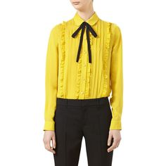 Gucci Pleated Silk Satin Shirt ($1,390) ❤ liked on Polyvore featuring tops, blouses, tulip yellow, women's apparel tops, flat top, yellow shirt, bow shirt, yellow blouse and button collar shirt