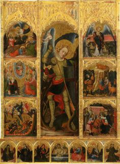 Altarpiece of San Miguel Arcangel, tempera on panel. Attributed to Jaume Mateu, (Sant Martí Sarroca, Artist of the second generation of international and active gothic in Valencia between Photography Illustration, Art Photography, Angels In Heaven, Heavenly Angels, Angels Among Us, Heaven And Hell, Archangel Michael, Catholic Art, St Michael
