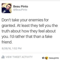 #Repost @beaupinto with @repostapp  Real friends will tell you you're acting like a fuckin' idiot. Straight up. Fake friends just tell you what you want to hear so that they can continue to use you. For everyone who has ever talk shit about me... THANK YOU. I've used all your feedback to make myself a better more successful person.  #toronto #torontoigers #torontoblogger #torontoblog #416 #the6 #the6ix #motivationalquotes #inspirationalquotes #motivationalquote #inspirationalquote #quotes…