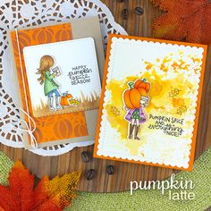 August Reveals - Day 1 - Pumpkin Latte Stamp Set by Newton's Nook Designs Giant Pumpkin, Happy Pumpkin, Leaf Stencil, Pumpkin Spice Coffee, Coffee Cards, Fall Cards, Thanksgiving Crafts, Cute Cards, Clear Stamps