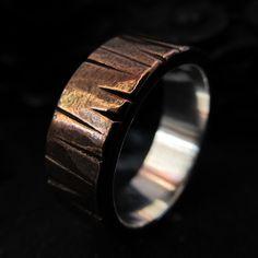 Mens wedding ring copper silver textured wedding by HcsMetalsmiths, $199.00