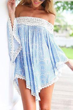 Off Shoulder Dress With Irregular Hem
