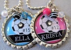 Customized Team Color Soccer Necklace with by buttonit on Etsy, $13.00