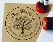 Custom Rubber Address Stamp: Tree Personalized Stamp. Wedding Stamp, Save the date, Thank You, Teacher, Initial, Monogram (1015R)