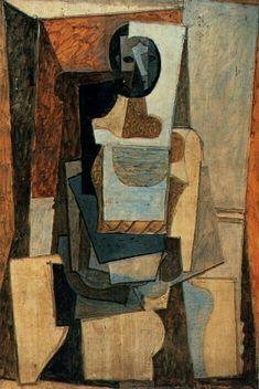 Pablo Picasso - Artist XXè - Cubism - 1918 - Femme assise dans un fauteuil Picasso Cubism, Cubism Art, Picasso Paintings, Georges Braque, Art Visage, Oeuvre D'art, Modern Art, Cool Art, Artwork