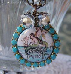 Mermaid Necklace locket siren swarovski by SSSJ on Etsy