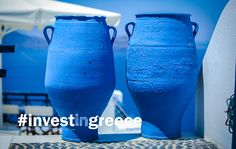 How beautiful are these simple blue vases... Greece is glorious. The culture, the beauty, the people, the history... Greece. #InvestInGreece #Ellada  www.GreekPropertyExchange.com