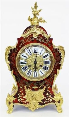 RARE ORIGINAL OUTSTANDING ANTIQUE FRENCH RED SHELL ORMOLU BOULLE MANTEL CLOCK