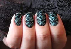 Teal + Black Lace Nails.
