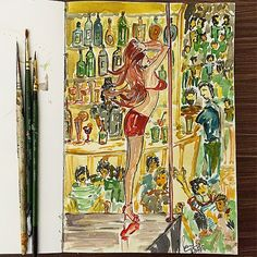 """#pole #dancer #bar #men #girls #drink #art #watercolours  #artist #arts_help  #india #painting #sketch #doodle #sketchbook @rubberband_kit"" Photo taken by @sharmaparul_ on Instagram, pinned via the InstaPin iOS App! http://www.instapinapp.com (05/09/2015)"
