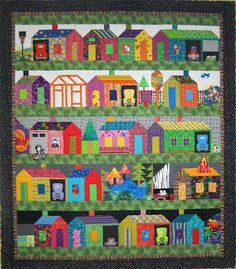 Can you find the postal cluster box? the fire truck? the duck pond? three cats and one very large fly? from Fiber Vibe House Quilt Patterns, House Quilt Block, Quilt Blocks, Block Patterns, Scrappy Quilts, Mini Quilts, Fabric Houses, Kitsch, Quilting Projects