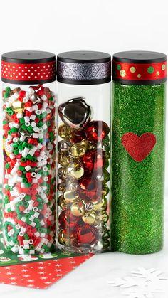 Sensory Bottles Preschool, Glitter Sensory Bottles, Glitter Jars, Sensory Activities, Sensory Play, Sensory Bags, Classroom Activities, Christmas Jars, Christmas Ribbon