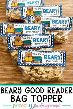 You're A Beary Good Reader Snack Bag Topper, Good Readers, Gifts For Readers, Snack Bags, Treat Bags, Birthday Rewards, Student Awards, Kids Learning, Learning Games, Reading Activities